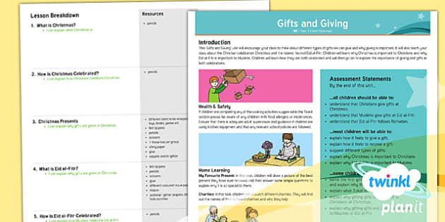 PlanIt - RE Year 1 - Gifts and Giving Planning Overview - planit, re, religious education, year 1, gifts and giving, planning overview