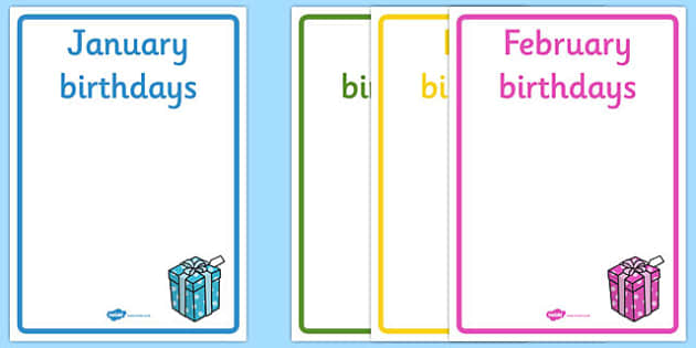 Editable Birthday Display Posters - Birthday, birthday poster, birthday display, months of the year, cake, balloons, happy birthday