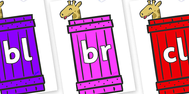 Initial Letter Blends on Giraffes (Crate) to Support Teaching on Dear Zoo - Initial Letters, initial letter, letter blend, letter blends, consonant, consonants, digraph, trigraph, literacy, alphabet, letters, foundation stage literacy