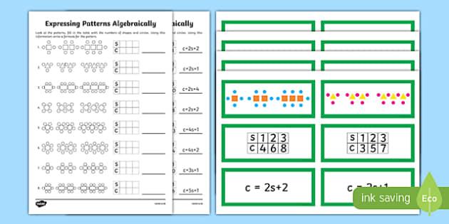 Year 6 Algebra Express Patterns Algebraically Resource Pack