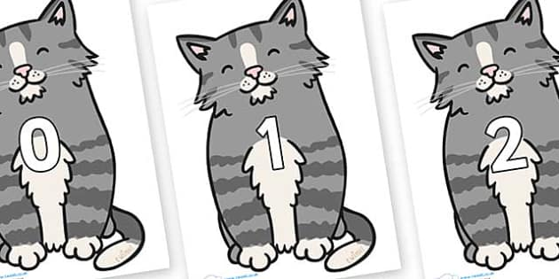 Numbers 0-31 on Kittens - 0-31, foundation stage numeracy, Number recognition, Number flashcards, counting, number frieze, Display numbers, number posters