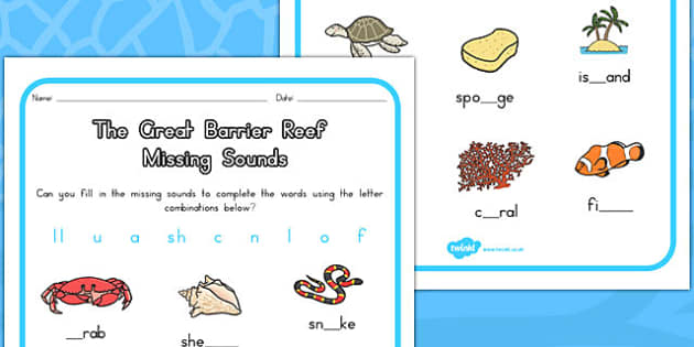 Great Barrier Reef Missing Sounds Worksheet - australia, barrier