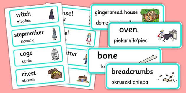 Hansel and Gretel Word Cards Polish Translation - polish, hansel and gretel, word cards