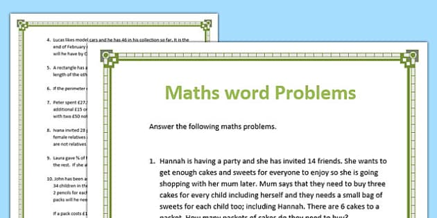 Maths Word Problems Worksheets