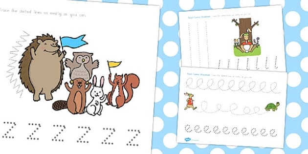 The Tortoise and the Hare Pencil Control Sheets - worksheets