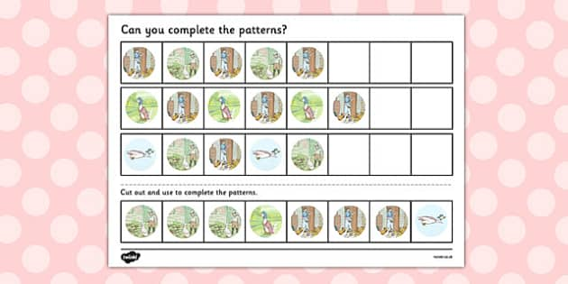 The Tale of Jemima Puddle-Duck Complete the Pattern Worksheets