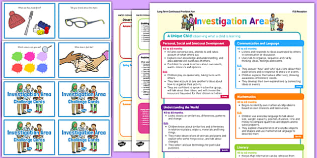 Investigation Area Continuous Provision Plan Poster and Challenge Cards Pack Reception FS2