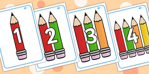 Numbers 0-20 with Pencils Posters - counting, counting aid, count, display