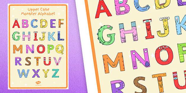 Upper Case Monster Alphabet Large Display Poster - uppercase, monster, alphabet, large, display poster, display, poster