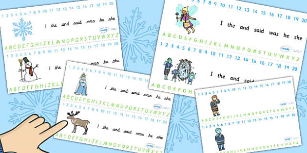 The Snow Queen Combined Number and Alphabet Strips - alphabet