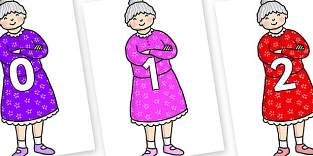 Numbers 0-31 on Enormous Turnip Old Woman - 0-31, foundation stage numeracy, Number recognition, Number flashcards, counting, number frieze, Display numbers, number posters