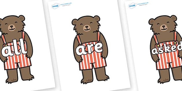 Tricky Words on Little Bear - Tricky words, DfES Letters and Sounds, Letters and sounds, display, words