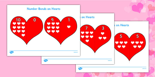 Valentine's Day Number Bonds to 10 on Hearts - valentines day
