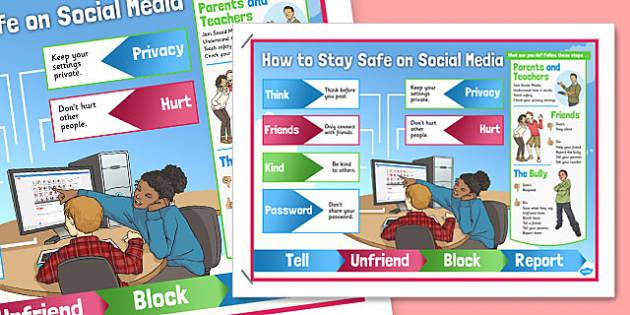 Stay Safe on Social Media Poster - stay safe, facebook, poster, display, social media, safety