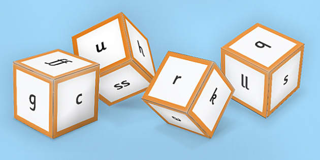 Phase 2 Phoneme Sounds Dice Nets - phase 2, phoneme, sound dice