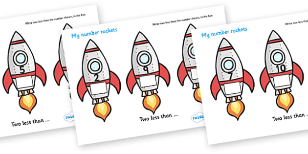 My Number Rockets (Two Less) - Counting, Numeracy, One less than, Foundation, Calculation, Take Away, Rocket Resource