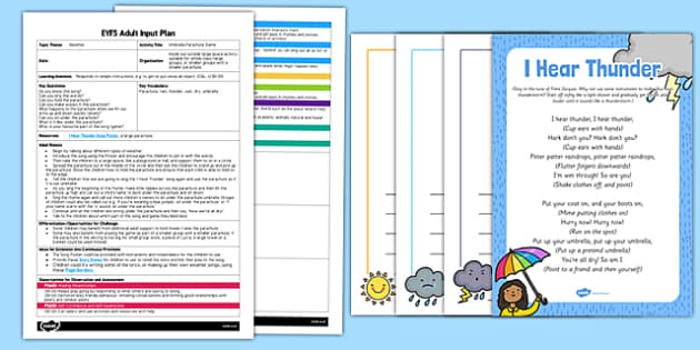 EYFS Umbrella Parachute Game Adult Input Plan and Resource Pack - EYFS, Early Years planning, adult led, weather, song, rhyme