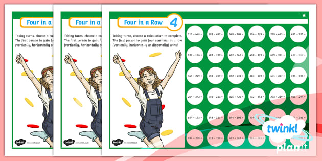 PlanIt Y3 Addition and Subtraction Four-in-a-Row Differentiated Home Learning Tasks - Addition and Subtraction, add, plus, subtract, minus, game, practise.