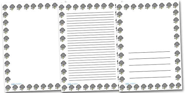 Thunder Cloud Portrait Page Borders- Portrait Page Borders - Page border, border, writing template, writing aid, writing frame, a4 border, template, templates, landscape
