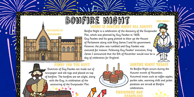 Large Bonfire Night Information Poster, Fire, Bonfire, Fawkes