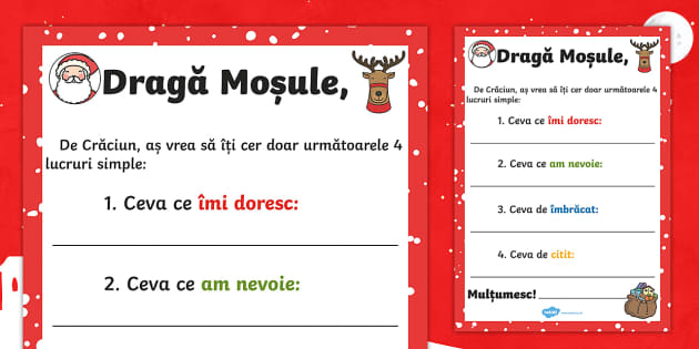 Scrisoare pentru Moșu\' -  Patru lucruri - scrisoare catre moșu, mos craciun, mos nicolae, crăciun, craciun, scriere, română, materiale, fi