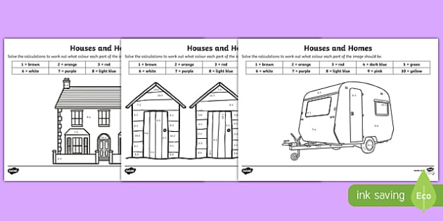 Houses and Homes Subtraction to 10 Colour by Number