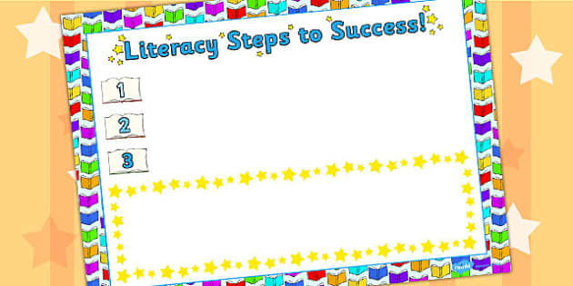 Literacy Steps To Success Sheet - achievements, success, literacy