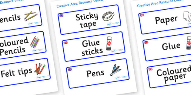 Great Britain Themed Editable Creative Area Resource Labels - Themed creative resource labels, Label template, Resource Label, Name Labels, Editable Labels, Drawer Labels, KS1 Labels, Foundation Labels, Foundation Stage Labels