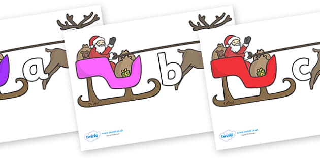 Phase 2 Phonemes on Sleighs - Phonemes, phoneme, Phase 2, Phase two, Foundation, Literacy, Letters and Sounds, DfES, display