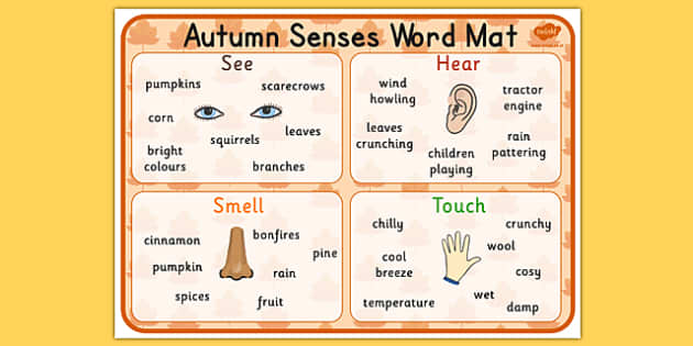Autumn Senses Word Mat - seasons, weather, visual aid, keywords