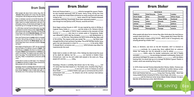 Bram Stoker 5th and 6th Class Cloze  Activity Sheet-Irish, worksheet