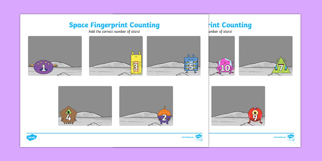 Space Fingerprint Counting Activity Sheet Pack - EYFS activities, number, EAD, aliens love underpants, worksheet