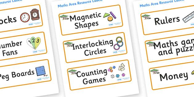 Safari Themed Editable Maths Area Resource Labels - Themed maths resource labels, maths area resources, Label template, Resource Label, Name Labels, Editable Labels, Drawer Labels, KS1 Labels, Foundation Labels, Foundation Stage Labels, Teaching Labe