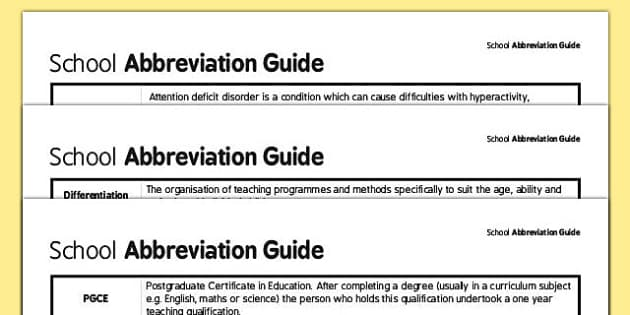 School Abbreviation Guide (for Parents) - parents abbreviation guide, guide, sheet, abbreviation, abbreviations, KS1, ICT, help, aid, what does, mean, meaning