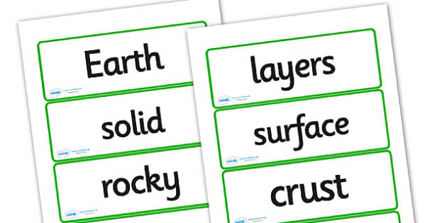 Layers of the Earth Word Cards - the earth, the earth word cards, the earth vocabulary cards, layers of the earth vocab cards, planet word cards, ks2 words