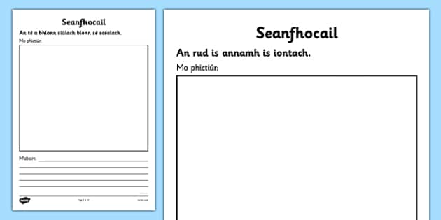 Irish Gaeilge Seanfhocail to Illustrate and Explain Activity Sheets - Irish, Gaeilge, proverbs, seanfhocail, drawing, writing, illustrating, activity sheet, seachtain na gaeilge, worksheet