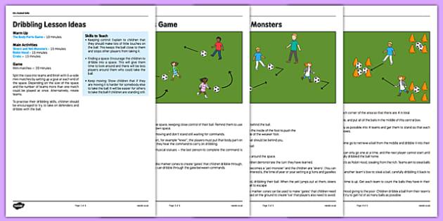 KS1 Football Skills 1 Dribbling Lesson Pack - football, PE, sport, exercise, KS1, year 1, year 2, skills, physical education, ball skills, team sports