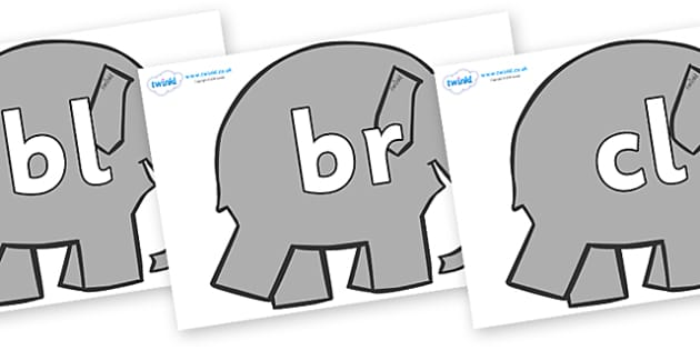 Initial Letter Blends on Grey Elephant to Support Teaching on Elmer - Initial Letters, initial letter, letter blend, letter blends, consonant, consonants, digraph, trigraph, literacy, alphabet, letters, foundation stage literacy