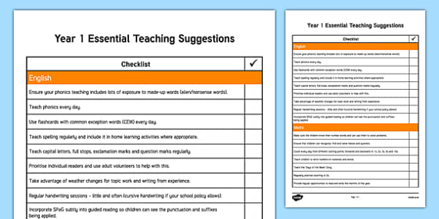 Year 1 Essential Teaching Suggestions Checklist