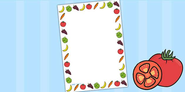 Fruit and Vegetable Themed Page Borders - healthy eating, food