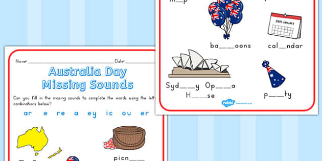 Australia Day Missing Sounds Worksheet - australia, sounds, sheet
