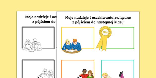 Hopes and My New Year Group Secondary SEN Activity Sheet Polish -  Transition Handover Sheets, primary, secondary, ks2, ks3, new year, end of year, Polish, mfl, eal, SEN, worksheet