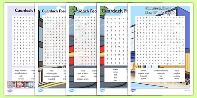 Irish Gaeilge Siopadóireacht Word Search Pack - irish, gaeilge, word search, pack, shopping, town, transport, siopadóireacht