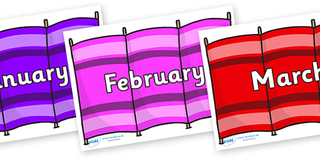 Months of the Year on Windbreakers - Months of the Year, Months poster, Months display, display, poster, frieze, Months, month, January, February, March, April, May, June, July, August, September