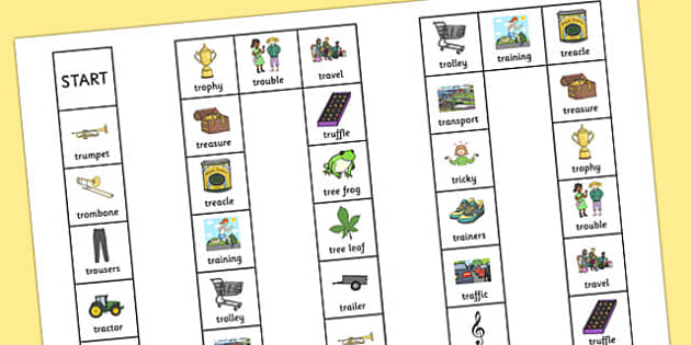 Two Syllable 'TR' Board Game - tr sound, syllable, board game