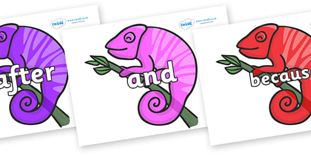 Connectives on Chameleons - Connectives, VCOP, connective resources, connectives display words, connective displays