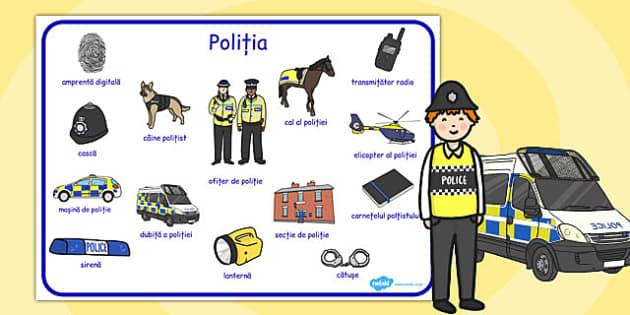 Politia - plansa, imagini, joc rol, dezvolt vocabular, Romanian