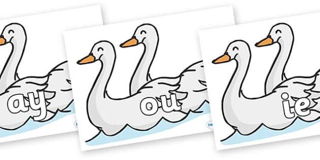 Phase 5 Phonemes on Swans - Phonemes, phoneme, Phase 5, Phase five, Foundation, Literacy, Letters and Sounds, DfES, display