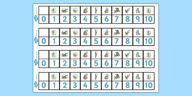 The Story of Miss Moppet Number Track 1-10 - miss moppet, number track, 1, 10, number, track, maths, beatrix potter