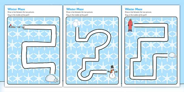 Winter Pencil Control Path Activity Sheets - winter, pencil control, pencil control worksheets, fine motor skills, fine motor worksheets, worksheets